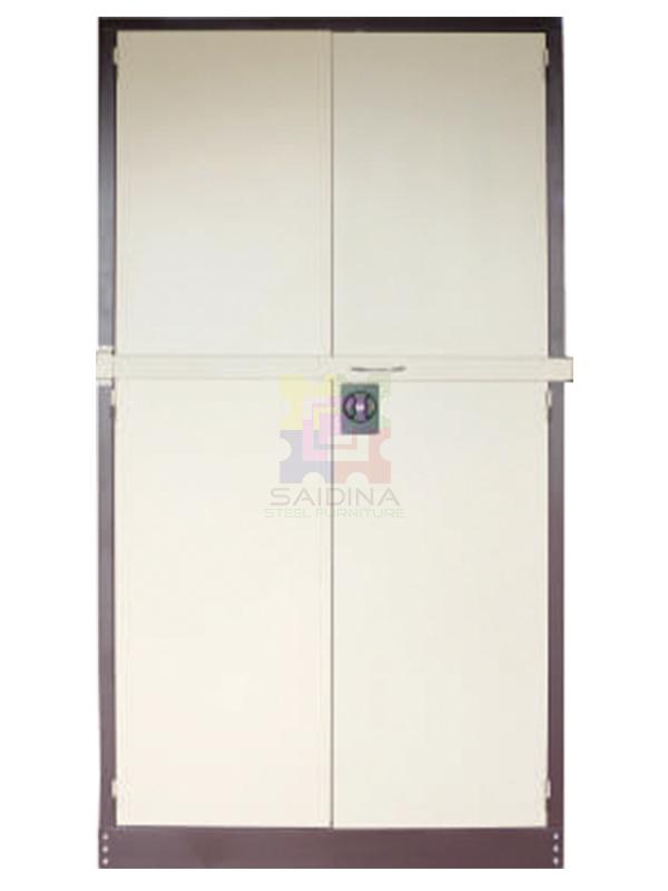 swing door cupboard c/w locking bar