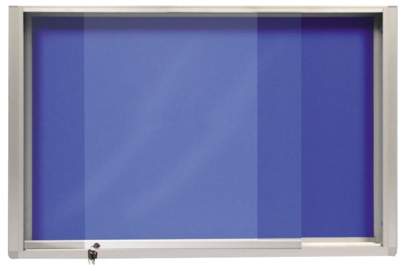 notice board with glass sliding cabinet
