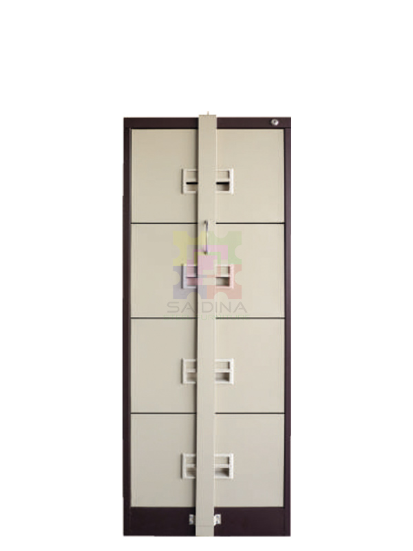 vertical filing cabinet with locking bar