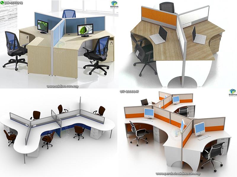 Workstation c/w 120 degree shape table