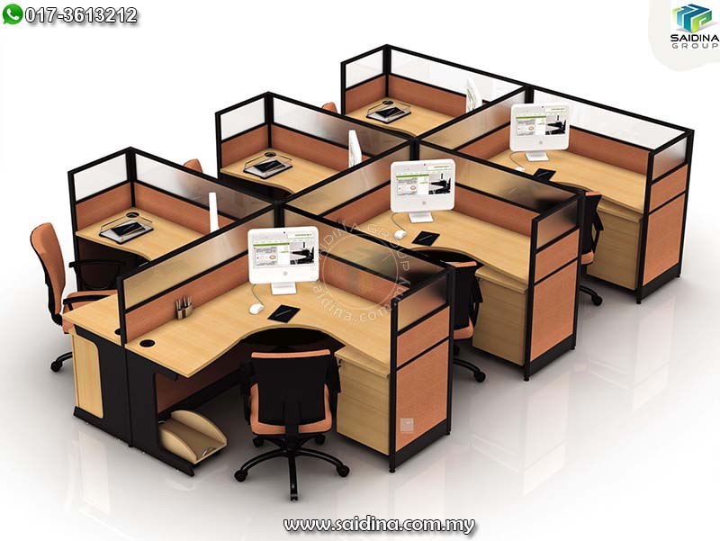 office workstation cluster of 6