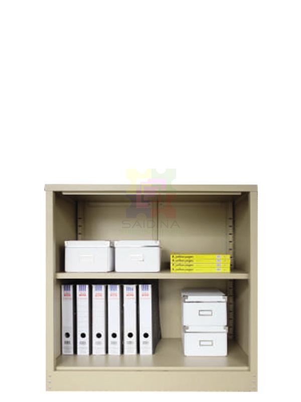 open shelf half height steel cupboard