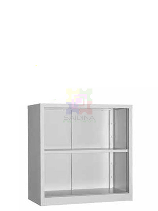 open shelf half height steel cupboard